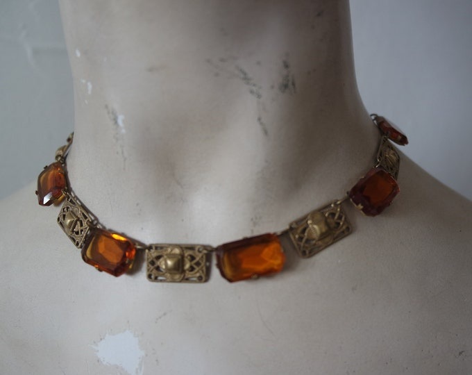 Vintage 1930s Ochre Czech Glass and Brass Rectangle Link Necklace - 30s, Art Deco Jewelry