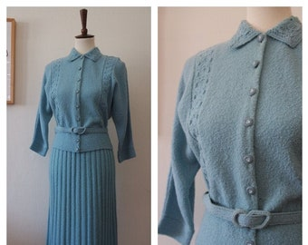 Vintage Early 1950s Baby Blue French Chenille Knit Two Piece Set - 50s Wool Knitwear - French Knit - Size Small/Medium
