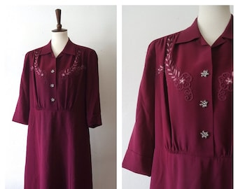 Vintage 1940s Fuchsia Silk Day Dress - Classic 40s Embroidered Applique Dress - Silk 40s Style Dress - Size XL