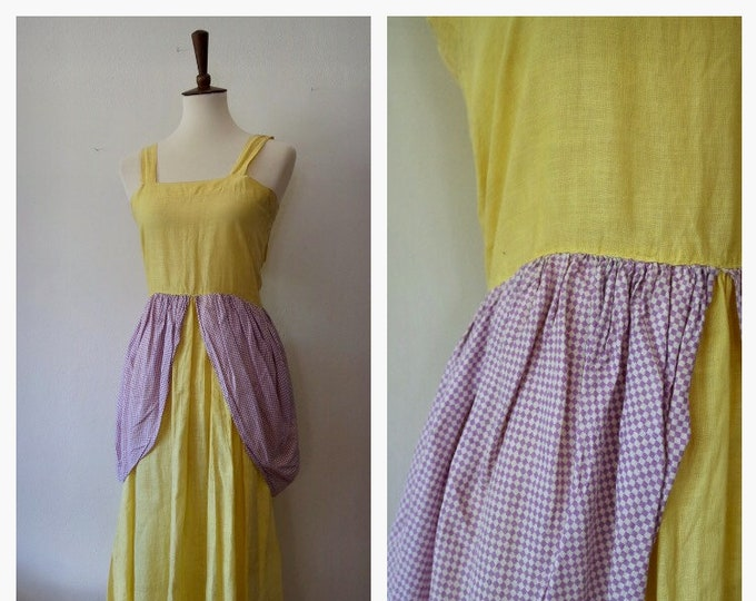 Vintage 1930s Yellow Purple Checked Cotton Tulip Petal Novelty Skirt - 30s Costume Dress - Rare Vintage 30s Costume - Size XSmall