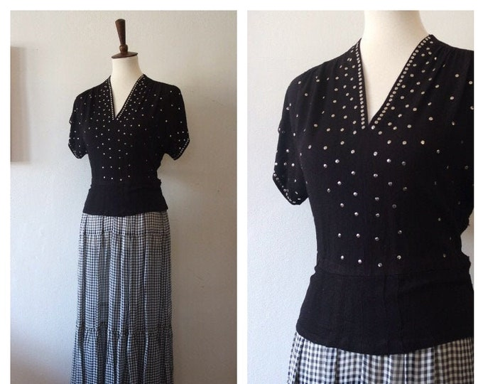 Vintage 1940s Black White Crepe Rayon and Chiffon Gingham Sequin Bodice Gown - 40s Rare Rayon Evening Dress - Size Medium