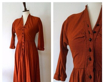 Vintage 1940s Orange Black Gingham Rayon Jonathon Logan Button Front Day Dress - 40s Autumn Tone Dress - Size Xsmall/Small