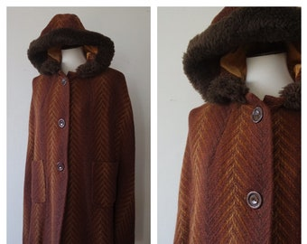 Vintage 1960s Brown Flecked Wool and Mohair Faux Fur Trim Hooded Cape - 60s Wool Cape - 60s Winter Coat - Size Small/Medium