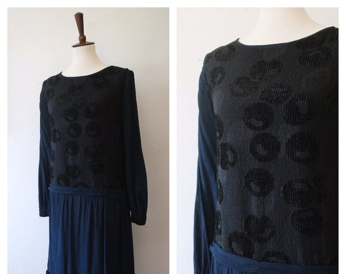 Antique 1920s Navy Blue Silk and Black Burnout Velvet Floral Cherry Pattern Dress - Drop Waist 20s Dress - Size Xsmall/Small