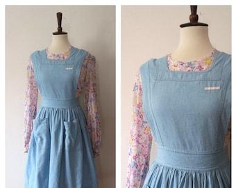 11decb8495e53 Vintage 1940s Light Wash Blue Denim ARC Nurses Aide Pinafore Dress - Vintage  40s WWII Era Nurses Pinafore - Size XS/S