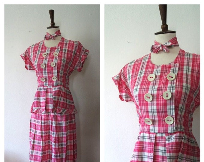 Vintage Late 1930s Early 1940s Pink Cotton Plaid Two Piece Sportswear Set - 30s 40s Peplum Style Blouse and Skirt Set - Size Small