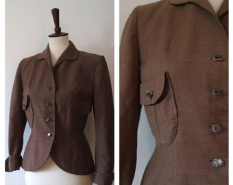 Vintage Late 1940s Taupe Wool Crepe Fitted Blazer Jacket - Late 40s Early 50s Wool Blazer - Size Small