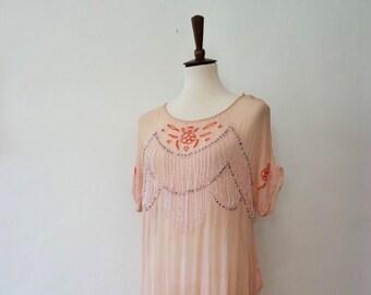 cde1e2da9c9 Antique 1920s Pale Pink Silk Chiffon Beaded Flapper Dress - Rare Beaded 20s  Shift - Antique Flapper Dress - Authentic - Size S M