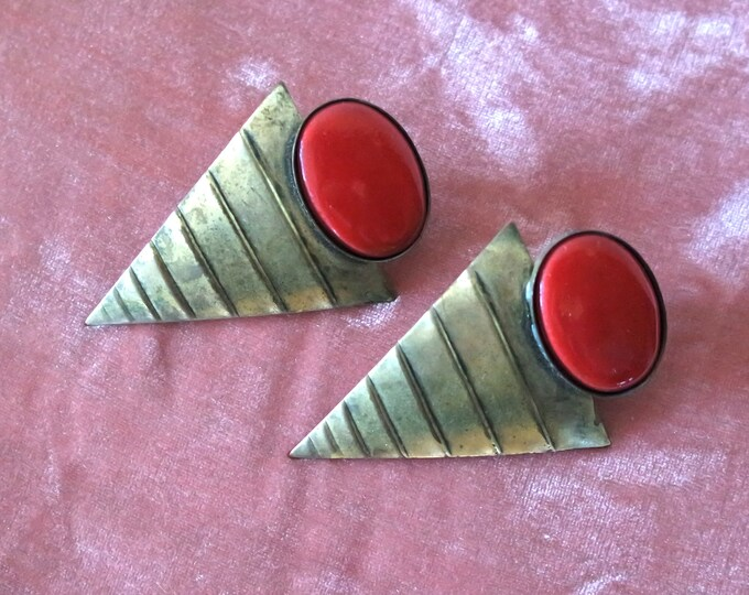 Vintage 1980s Brass and Enamel Statement Earrings