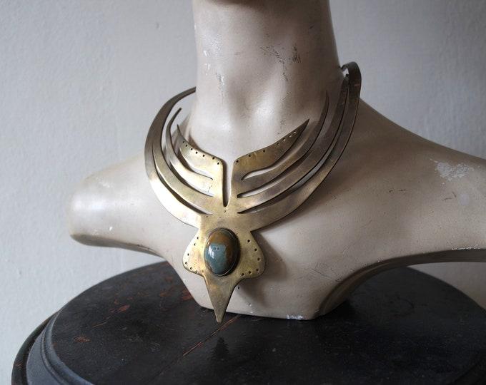 Rare Handmade 1970s Brass Bib Necklace with Ocean Jasper Stone Inset - Unique Vintage Jewelry