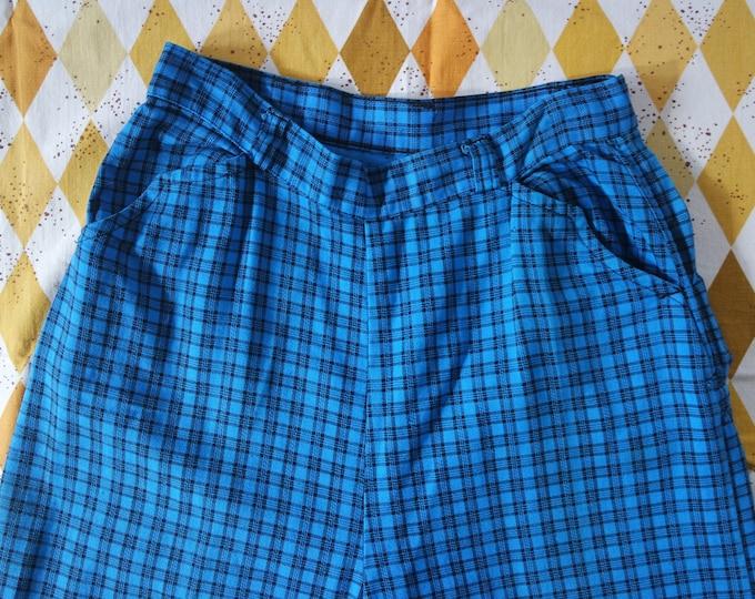 RARE Vintage 1950s Blue Black Plaid Side Zip Denim Western Jeans - 50s Novelty Print Denim - Size Medium