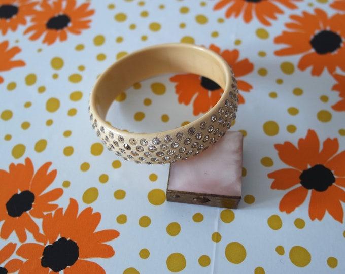 Vintage 1930s Cream Celluloid Rhinestone Bangle Bracelet - 30s Costume Jewelry - Rare Novelty 30s Jewelry