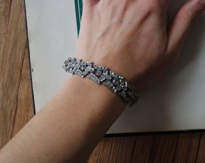 Vintage 1930s Rhinestone Pot Metal Bracelet - 30s Costume Jewelry - Pot Metal Jewelry