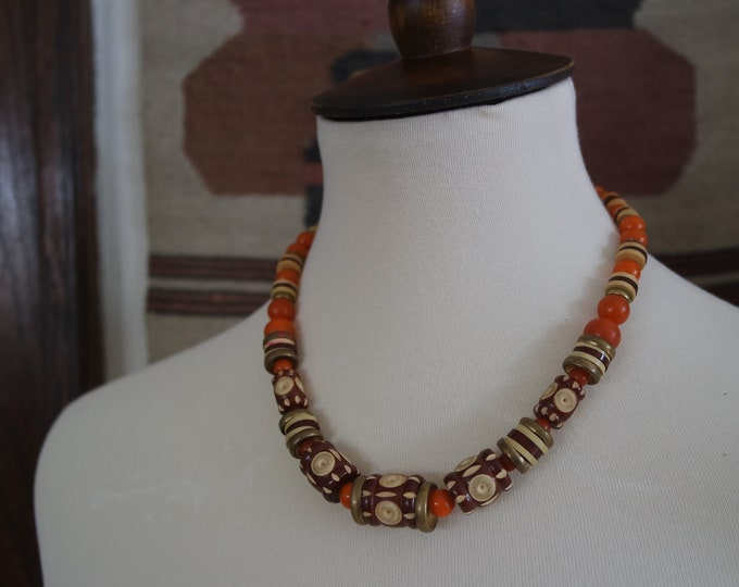 Vintage 1930s Carved Celluloid Beaded Necklace - Celluloid and Brass Beaded Deco Necklace