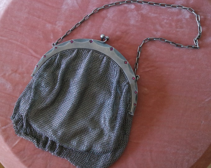 Antique 1920s Chain Mail Flapper Purse - Garnet Embellished Sterling Silver Handbag