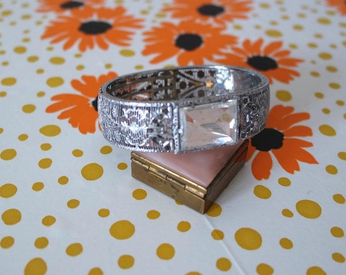 Vintage 1930s Silver Filigree Bracelet with Glass Stone - Deco Style Jewelry - Art Deco 30s Bracelet