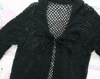 Antique 1920s Black Rayon Crochet Open Front Cardigan - 20s Slinky Rayon Sweater - 20s Crochet - Size Medium