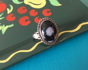 Vintage 1970s Snowflake Obsidian Silver Statement Ring - Size 7