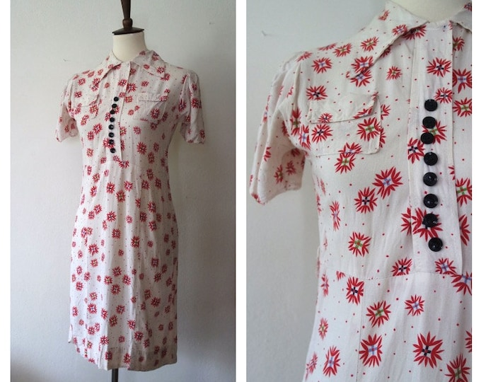 Vintage 1930s White Red Novelty Rayon Day Dress - 30s Explosion Print Dress - Classic 30s Dress - Size XSmall/Small