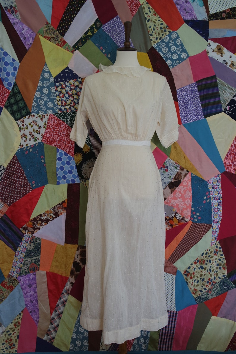 aed0def7a1 Antique Edwardian Cotton Lawn Dress Dotted Calico Cotton   Etsy