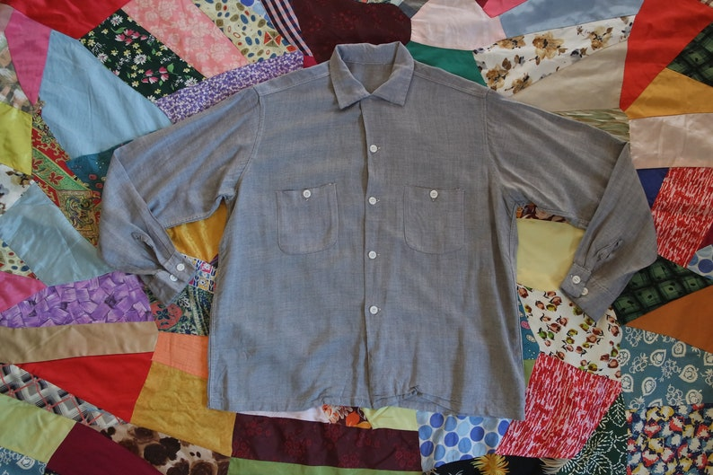 18ebb329954f1f Vintage 1950s Gray Rayon Button Down Classic Men's 50s | Etsy