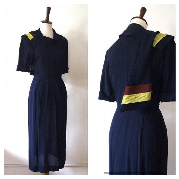 Vintage 1940s Midnight Blue Silk Scarf Detail Day