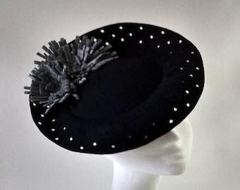 1940's inspired 'tilt' hat navy wool felt