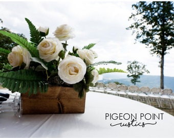 Rustic wedding table centerpiece, various sizes and stains available.  Wooden Flower Boxes for decoration of all seasons and occasions
