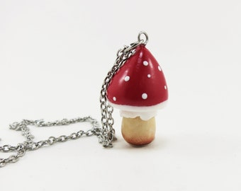 Necklace - cute red mushroom | Chez Laurette (mini)