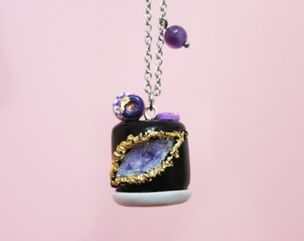 Necklace -  Amethyst Geode Cake (black) | Unique piece | Chez Laurette
