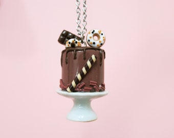 Necklace - Chocolate cake with donut and chocolate bar | Unique piece | Chez Laurette (Maxi)
