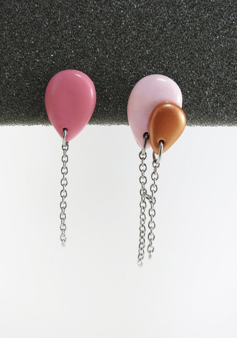 Asymmetric studs earrings Baloons Pink & Gold  Chez Laurette image 0