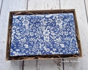 Men's pocket square, men's handkerchief, steel blue floral pocket square