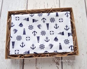 Men's pocket square, men's handkerchief, navy nautical on white pocket square
