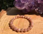 AAA Peach Moonstone Bracelet New Moon Chakra Stone Divine Feminine Pregnancy Goddess Emotional Balance Harmony Pink