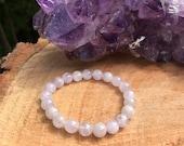 Lavender Rose Quartz Bracelet Chakra Healing Meditation Protection Tranquility Anti Aging Stress Tension Dream Love Amethyst
