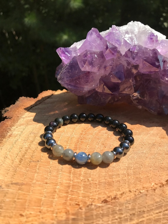 Kyanite Root Chakra Bracelet Grounding Protection Meditation Bracelet Yoga Jewelry