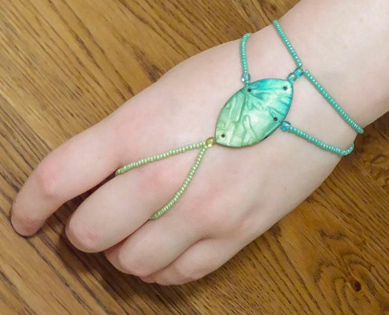 Turquoise slave bracelet. Polymer clay bracelet ring. Finger image 0
