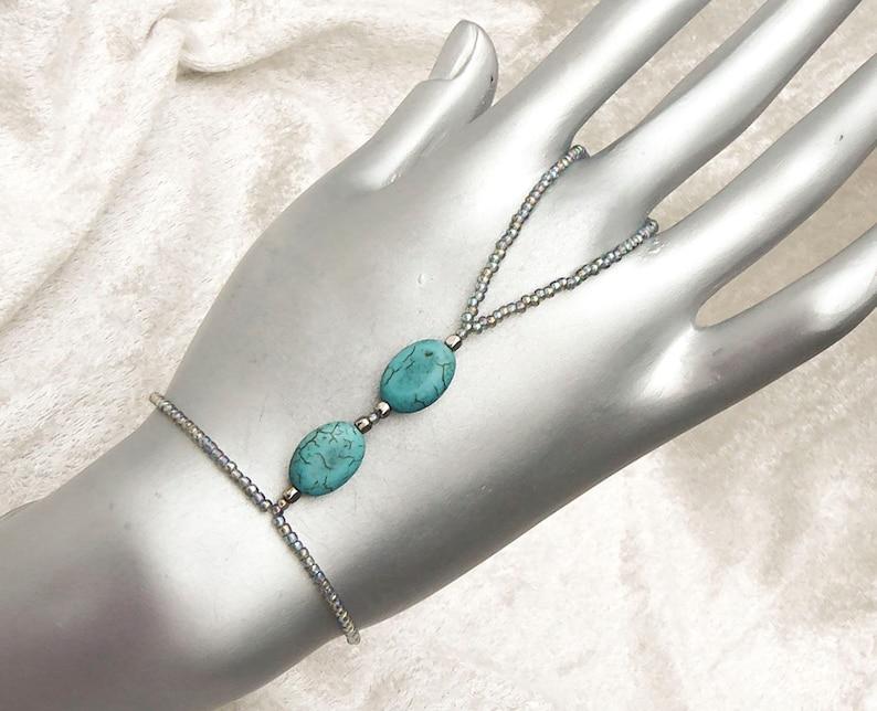 NEW HOWLITE slave bracelet. Bracelet ring. Finger bracelet. image 0