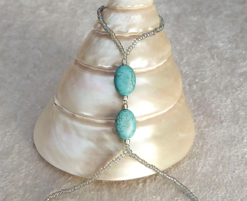 Turquoise HOWLITE slave bracelet. Bracelet ring. Finger image 0