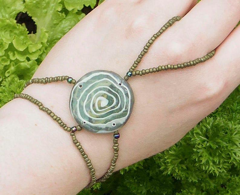 Polymer clay finger bracelet. Slave bracelet. Bracelet ring. image 0