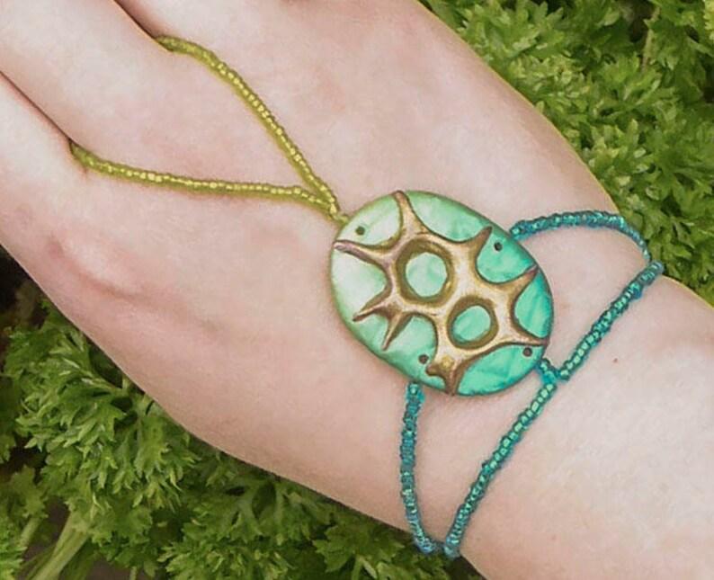 Turquoise slave bracelet. 3D gold polymer clay bracelet ring. image 0