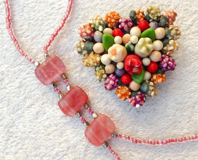Cherry quartz slave bracelet. Bracelet ring. Crystal. Finger image 0