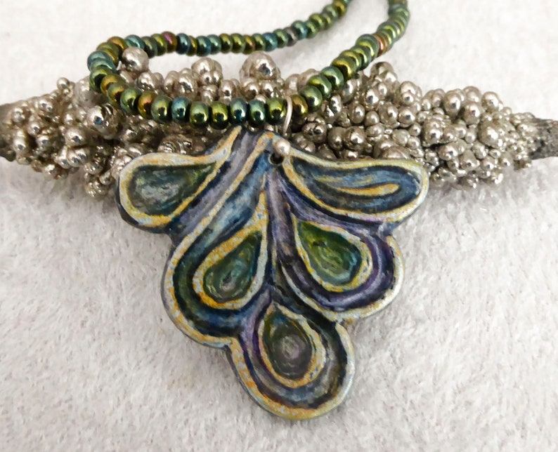 Carved polymer clay pendant necklace. Collar statement image 0