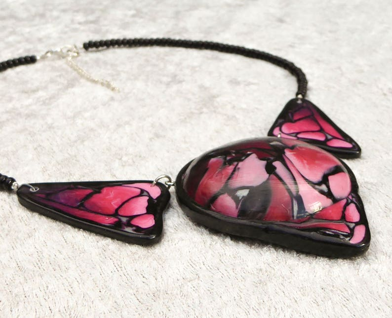 Hollow 3D polymer clay pendant necklace. Collar statement image 0
