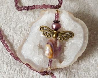 JASPER angel. Elastic gemstone slave bracelet. Beaded stretchy crystal bracelets ring. Semi precious stone finger bracelet. Hand jewelry.