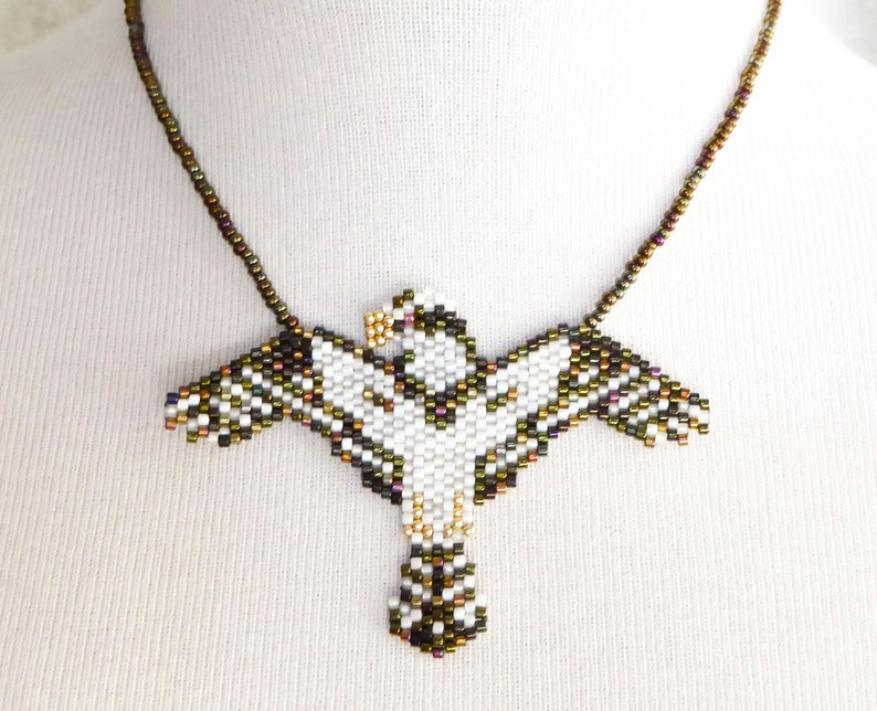SOLD CUSTOM ORDER Eagle necklace. Beadwork with grey seed image 0