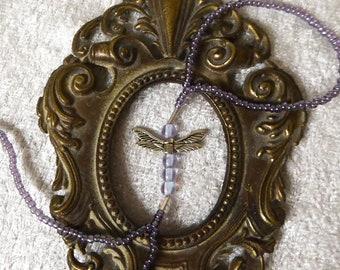 Purple Dragonfly. Elastic animal slave bracelet. Beaded stretchy bracelets ring. Finger bracelet. Hand jewelry. Hand chain. Ring bracelet