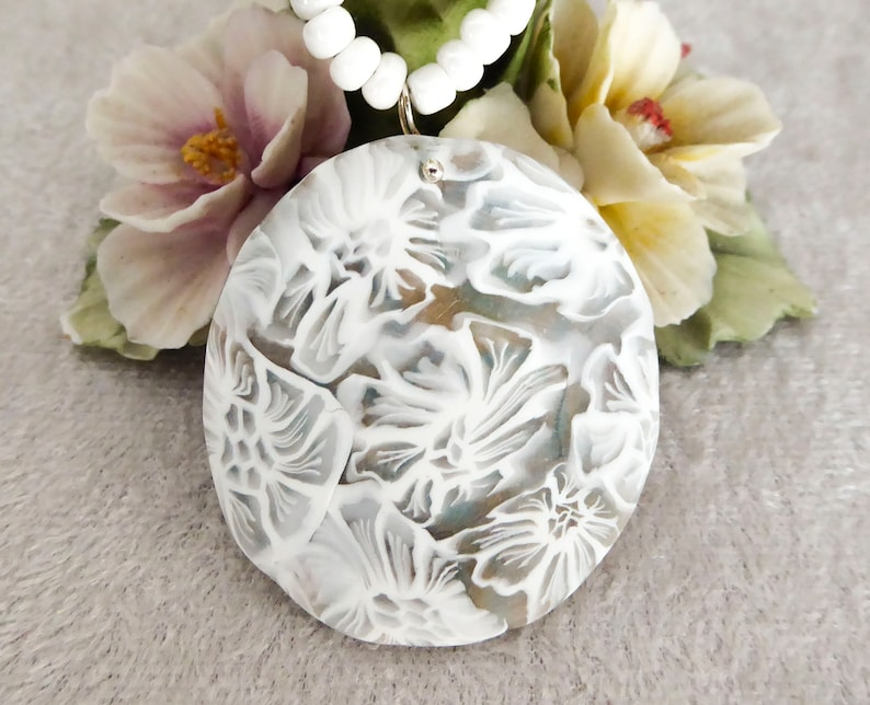White lace polymer clay pendant necklace. Collar statement image 0