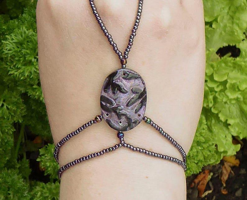 SALE 25 percent Purple polymer clay slave bracelet. Bracelet image 0